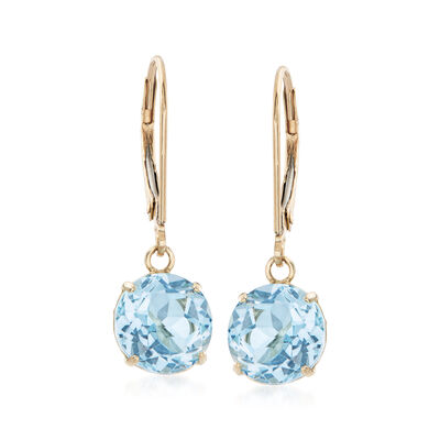 4.60 ct. t.w. Blue Topaz Drop Earrings in 14kt Yellow Gold, , default