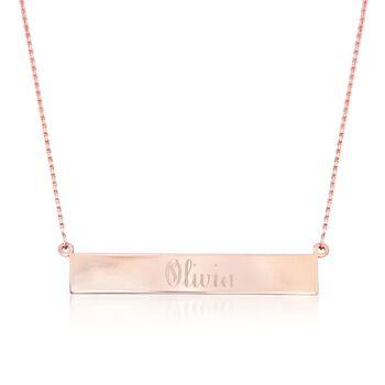 """14kt Rose Gold Name Bar Necklace. 16"""", , default"""