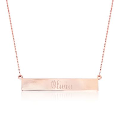 14kt Rose Gold Name Bar Necklace, , default