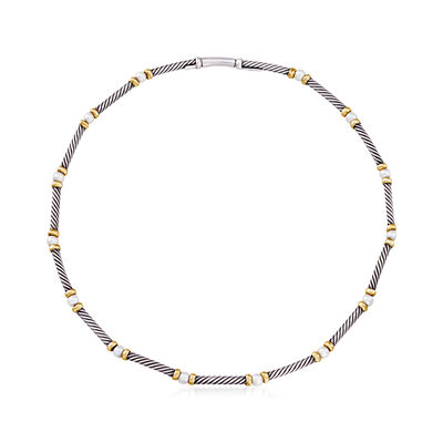 C. 1990 Vintage David Yurman 4mm Cultured Pearl Station Necklace in Sterling Silver and 14kt Yellow Gold