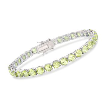 """16.00 ct. t.w. Peridot Tennis Bracelet in Sterling Silver. 7"""", , default"""