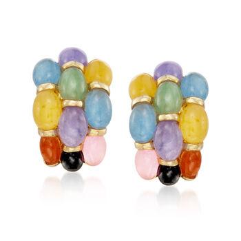 Multicolored Jade Hoop Earrings in 14kt Gold Over Sterling, , default