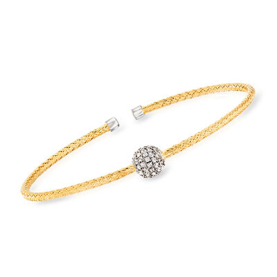 """Charles Garnier """"Paolo"""" .61 ct. t.w. CZ Cuff Bracelet in Sterling Silver and 18kt Gold Over Sterling, , default"""