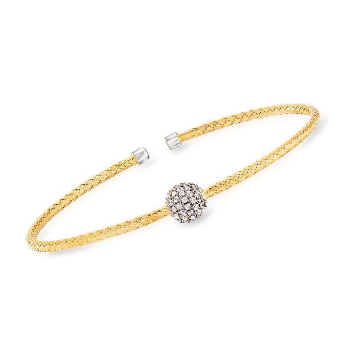 """Charles Garnier """"Paolo"""" .61 ct. t.w. CZ Cuff Bracelet in Sterling Silver and 18kt Gold Over Sterling. 7"""", , default"""