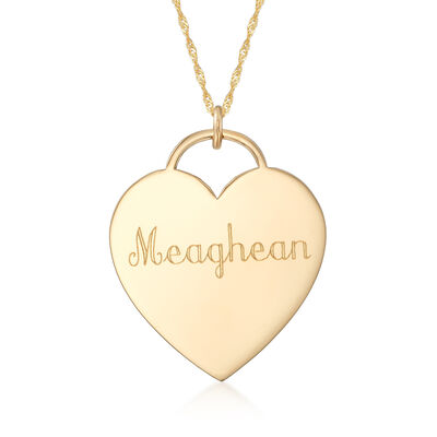 14kt Yellow Gold Personalized Name Heart Pendant Necklace, , default