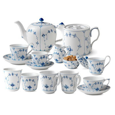"Royal Copenhagen ""Blue Fluted Plain"" Porcelain Tea Service"