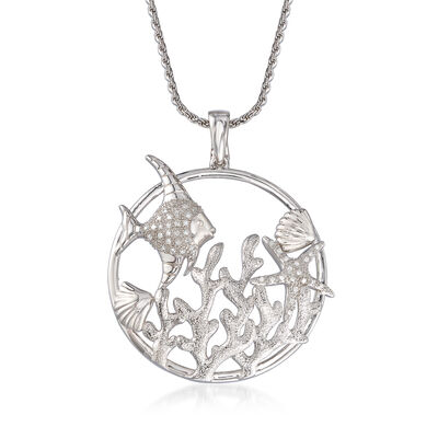 .15 ct. t.w. Diamond Sea Life Pendant Necklace in Sterling Silver, , default