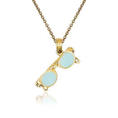 14kt Yellow Gold Sunglasses Pendant Necklace, , default