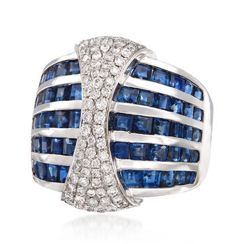 4.20 ct. t.w. Sapphire and .63 ct. t.w. Diamond Multi-Row Ring in 18kt White Gold. Size 9, , default