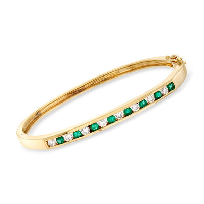 C. 1990 Vintage .80 ct. t.w. Emerald and .65 ct. t.w. Diamond Bangle Bracelet in 14kt Yellow Gold, , default