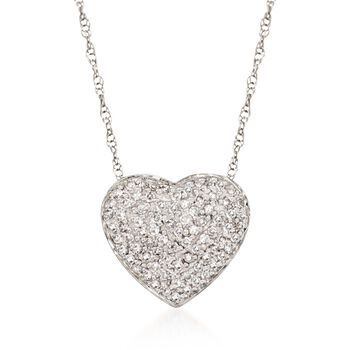 """.25 ct. t.w. Diamond Heart Pendant Necklace in 14kt White Gold. 16"""", , default"""