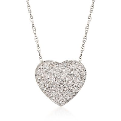 .25 ct. t.w. Diamond Heart Pendant Necklace in 14kt White Gold, , default