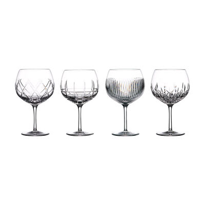 """Waterford Crystal """"Gin Journeys"""" Set of Four Mixed Design Balloon Glasses, , default"""