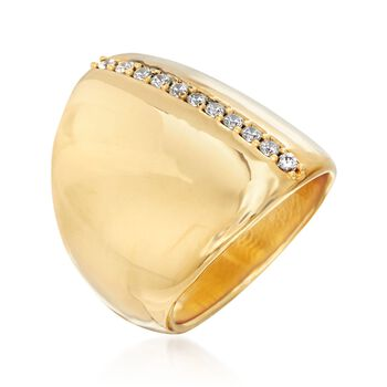 Italian Andiamo 14kt Yellow Gold Ring with .20 ct. t.w. CZs, , default