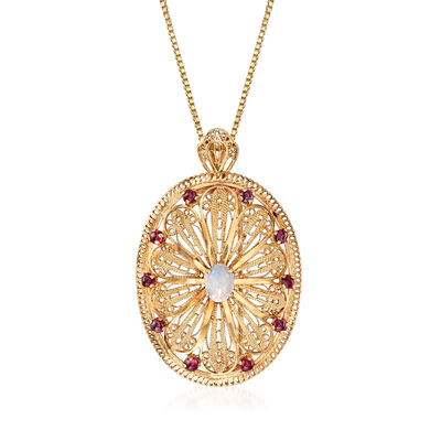 C. 1980 Vintage Opal and 1.50 ct. t.w. Garnet Filigree Pin/Pendant Necklace in 14kt Yellow Gold, , default