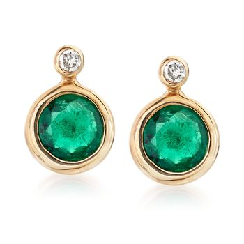 .50 ct. t.w. Bezel-Set Emerald Stud Earrings With Diamond Accents in 14kt Yellow Gold, , default