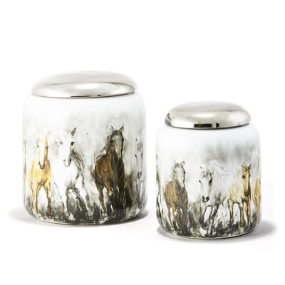 Set of 2 Wild Horse Porcelain Jars with Lids, , default