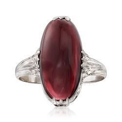 C. 1950 Vintage 5.00 Carat Garnet Filigree Ring in 14kt White Gold. Size 6.25, , default
