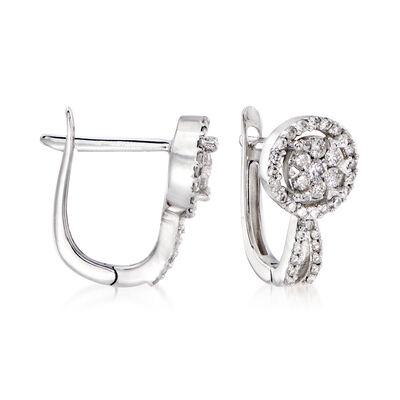.50 ct. t.w. Diamond Cluster Hoop Earrings in 14kt White Gold