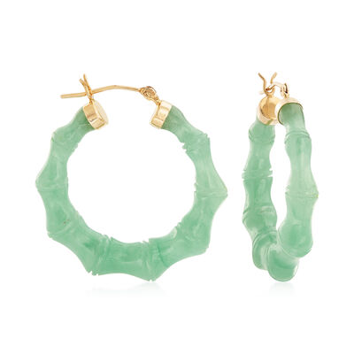 Green Jade Hoop Earrings with 14kt Yellow Gold, , default