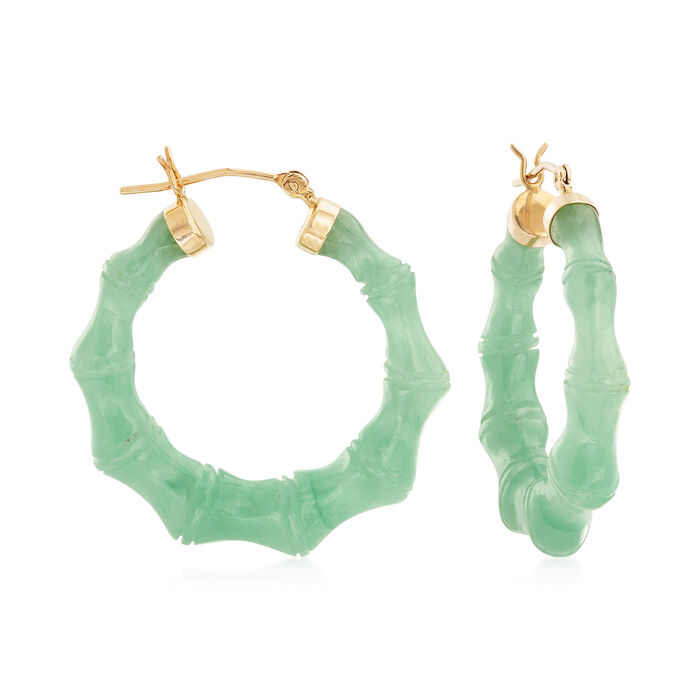 "Green Jade Hoop Earrings with 14kt Yellow Gold. 1 1/4"", , default"