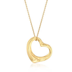 "C. 1990 Vintage Tiffany Jewelry ""Paloma Picasso"" 18kt Yellow Gold Open-Space Heart Necklace, , default"