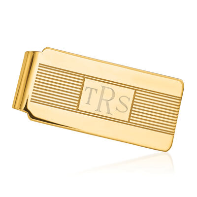 14kt Yellow Gold Polished Three-Initial Engravable Money Clip