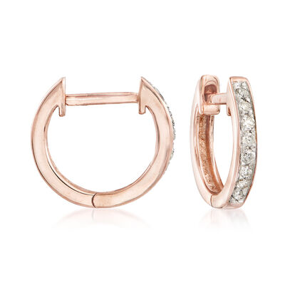 .10 ct. t.w. Diamond Huggie Hoop Earrings in 14kt Rose Gold, , default