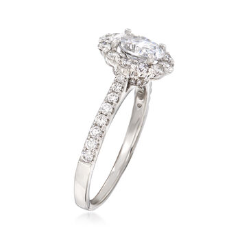 .56 ct. t.w. Diamond Halo Engagement Ring Setting in 14kt White Gold. Size 6.5, , default