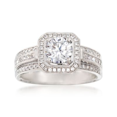 Simon G. .44 ct. t.w. Diamond Halo Engagement Ring Setting in 18kt White Gold, , default