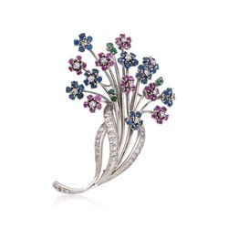 C. 1970 Vintage 5.70 ct. t.w. Multi-Stone and  Diamond Floral Pin in 18kt White Gold, , default