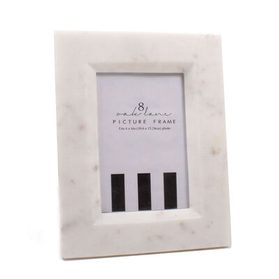 White Marble 4x6 Picture Frame, , default
