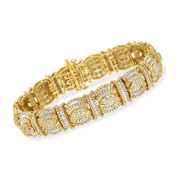5.00 ct. t.w. Round and Baguette Diamond Bracelet in 18kt Gold Over Sterling