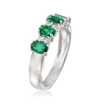 1.00 ct. t.w. Emerald and .15 ct. t.w. Diamond Ring in 14kt White Gold, , default