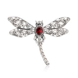 1.40 Carat Garnet Dragonfly Pendant in Sterling Silver, , default