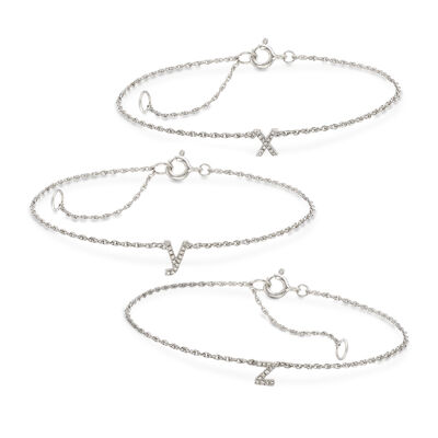 Diamond Accent Mini Initial Bracelet in Sterling Silver