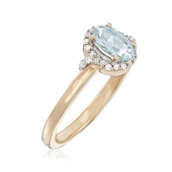 .60 Carat Aquamarine and .12 ct. t.w. Diamond Ring in 14kt Yellow Gold, , default