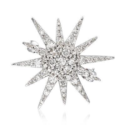 1.00 ct. t.w. Diamond Starburst Pin in 14kt White Gold, , default