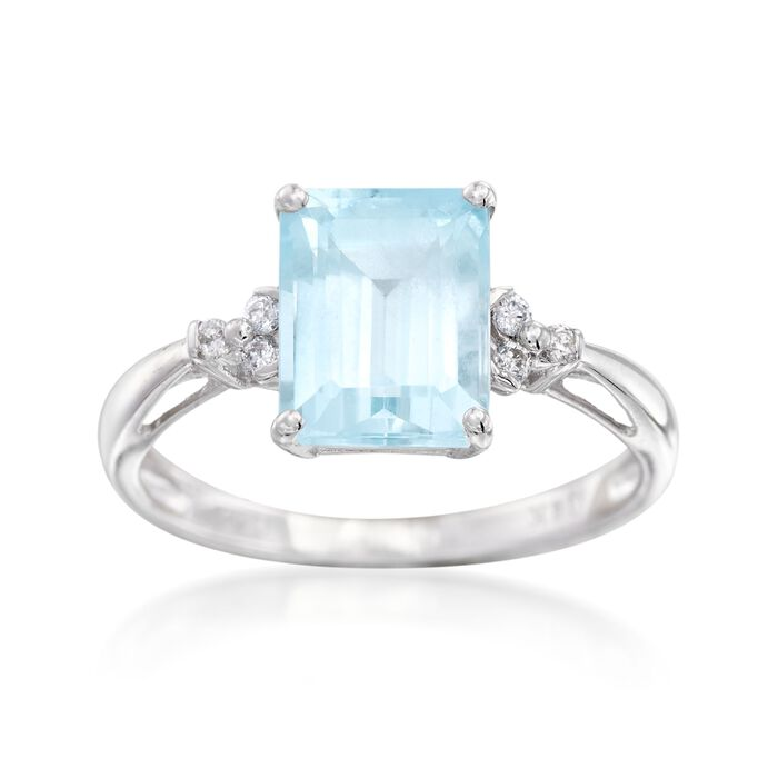 2.05 Carat Aquamarine Ring with Diamond Accents in 14kt White Gold, , default