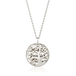 Sterling Silver Three-Name Family Tree Pendant Necklace, , default