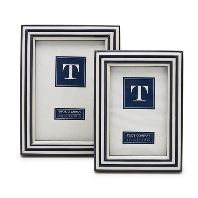 """Nautical Stripes"" Set of Two Blue and White Photo Frames"