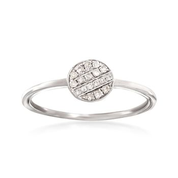 Diamond-Accented Circle Ring in 14kt White Gold, , default