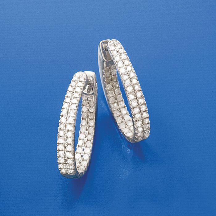 1.50 ct. t.w. Diamond Inside-Outside Hoop Earrings in Sterling Silver