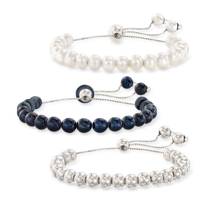 6mm Cultured Pearl and Bead Jewelry Set: Three Bolo Bracelets, , default