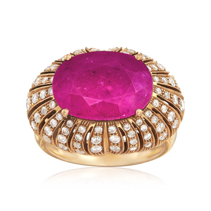 C. 1970 Vintage 7.25 Carat Pink Tourmaline and 1.10 ct. t.w. Diamond Ring in 18kt Yellow Gold. Size 6.5, , default