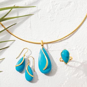 Turquoise Teardrop Earrings in 14kt Yellow Gold , , default