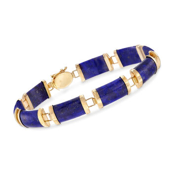 """Lapis and 14kt Yellow Gold """"Good Fortune"""" Chinese Character Bracelet"""