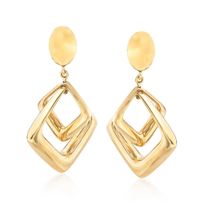 Italian 14kt Yellow Gold Double Square Drop Earrings, , default