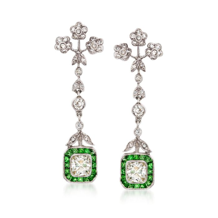 C. 1990 Vintage 1.00 ct. t.w. Tsavorite and 1.90 ct. t.w. Diamond Drop Earrings in 18kt White Gold