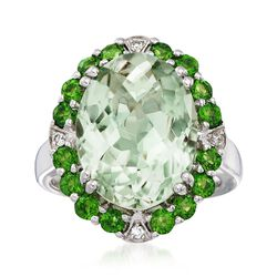 8.25 Carat Green Amethyst and 1.20 ct. t.w. Green Dioside Ring With Diamond Accents in Sterling Silver, , default